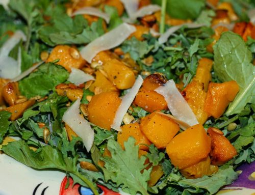 Organic Kale, Quinoa and Roasted Butternut Squash Salad with Toasted Pumpkin Seeds