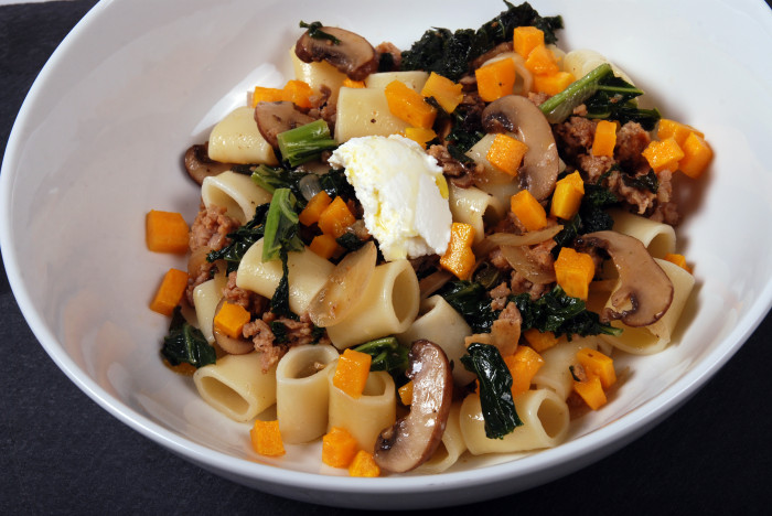DITALONI WITH KALE, BUTTERNUT SQUASH AND ITALIAN SAUSAGE